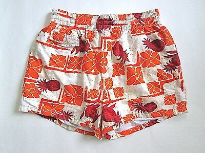 VGC Vtg 60s 70s Orange Tiki Hawaiian Surfer Shorts Swim Trunks Bathing Suit L