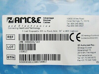 New AMC&E LWM-309DS50/5AT 5-Lead Disposable DIN - Pinch Shield Cable w/Combiner