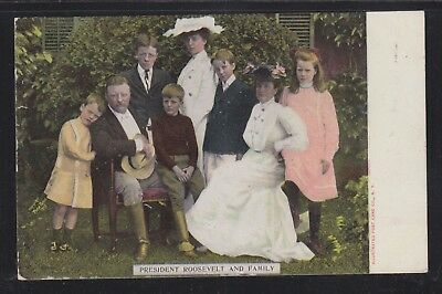 USA 1900's PRESIDENT ROOSEVELT & FAMILY PATRIOTIC POSTCARD UNUSED