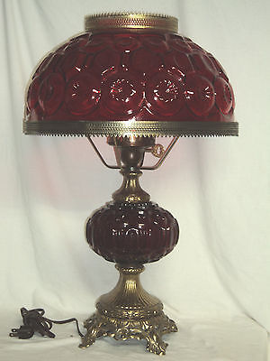 """L G Wright By Fenton  Moon and Star Red  22 """" Electric Lamp"""