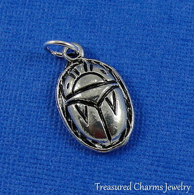 Silver SCARAB CHARM 3D Beetle Ancient Egyptian Amulet Talisman PENDANT *NEW*