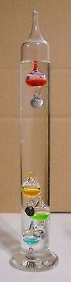 Galileo Glass Liquid Thermometer  4 Multi Colored Spheres 11 1/2'' Tall