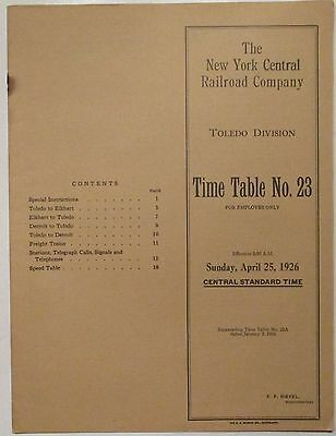 New York Central Railroad 1926 Employee Timetable -  Toledo Division