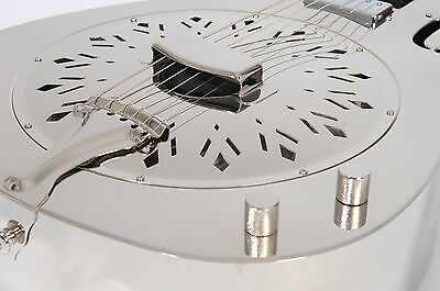 RESONATOR GUITAR JOHNSON JM-998 E chrome finish +Pickup (RRP 2016