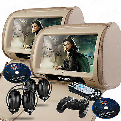 Pair 9 inch Digital Touch Screen Headrest DVD Player Monitor Beige Tan Headsets