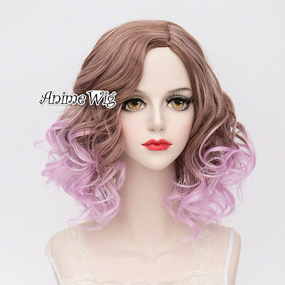 Lolita Purple Mixed Brown Short 35CM Curly Fashion Party Cosplay Wig + Wig Cap
