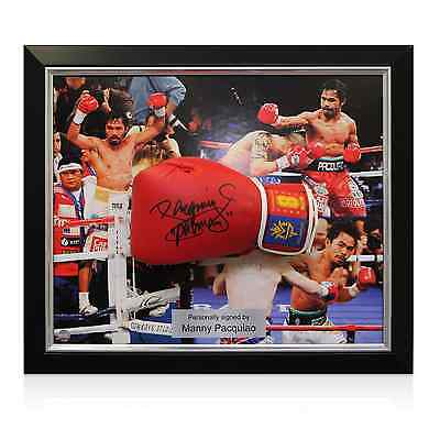 Manny Pacquiao Boxing Glove Signed Red Framed Collectables Memorabilia