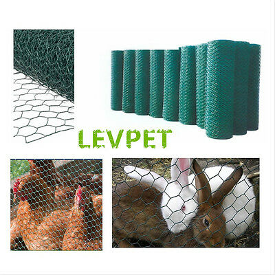 1.2×25M 50mm hole Green PVC Coated Chicken Rabbit Wire Mesh Fence Fencing Garden