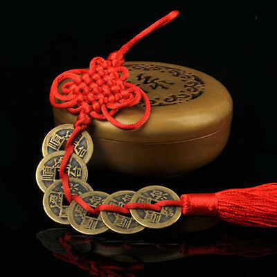 Wealth Success 5 Copper Coin China Knot Red Rope Feng Shui Lucky Car Decor 1 Set