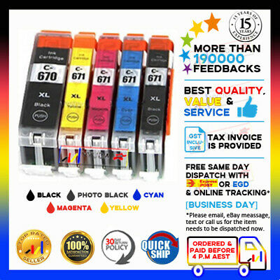 10 Ink Cartridge PGI-670XL CLI 671XL to Canon Pixma MG5760 MG5765 MG6860 Printer