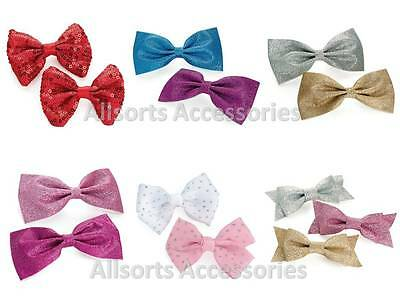 Pack of Glitter Big Hair Bows Boutique Girls Alligator Clip Ribbon Clips