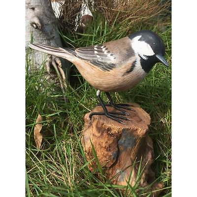 Fairtrade Solid Wooden Coal Tit on Root Statue