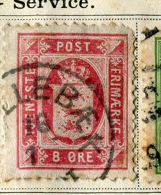 DENMARK;  1875 early Official issue fine used 8ore. value