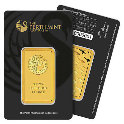 1 oz Perth Mint Gold Bar - .9999 Fine in Assay