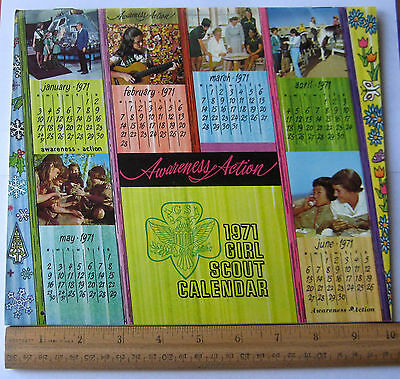 "Vintage Girl Scout 1971 WALL CALENDAR ""Awareness Action"" NEW Museum Quality"