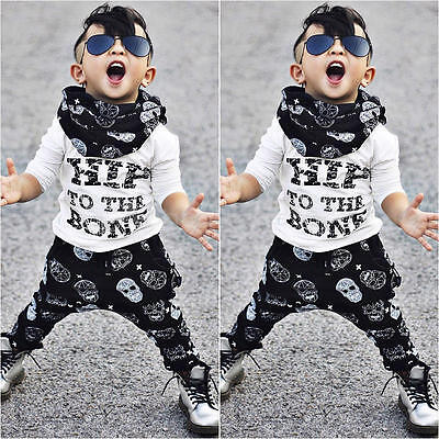 2pcs Baby Boys Casual T-shirt+Cross Pants Outfits Summer Clothes Set Age 0-4Y