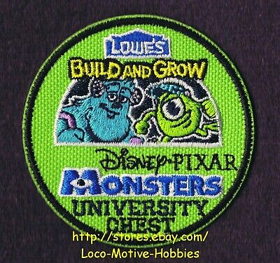 LMH PATCH Badge  2013 MONSTERS University CHEST Disney Pixar  LOWES Build Grow