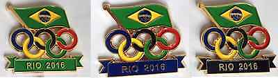 Rio 2016 Pin Badge - Olympic Rings - 3 colours - New Brazil Pin