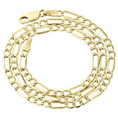 Mens Real 10K Yellow Gold Figaro Chain 4mm Necklace High Polished 16-30 Inches