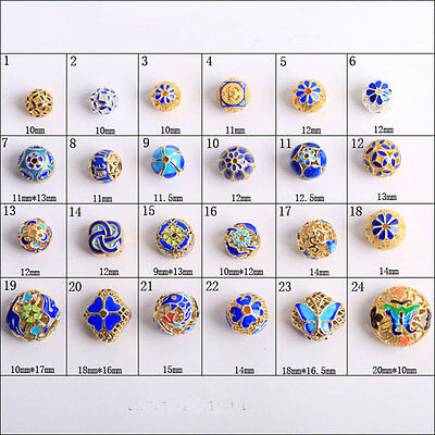 Cloisonne Enamel filigree silver gold plated copper spacer loose beads