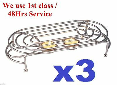 3x Oval Double Food Warmer Rack Stand Chrome Use Two Tea Light Candles Chafing