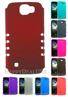 Armor Shock Resistant SLIM Hybrid Silicone Cover Case for LG K3 - Red (R)