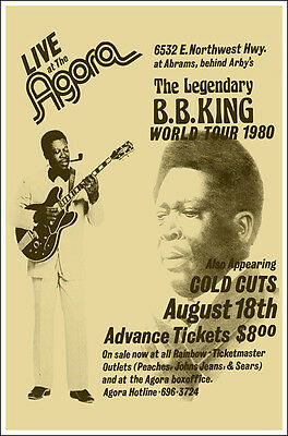 B B KING Agora Houston TX 1980 Concert Poster