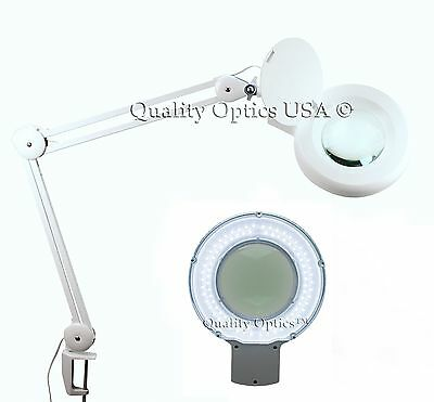 LED 5X Desk Table Clamp Mount Magnifier Lamp Light Magnifying Glass Lens Diopter