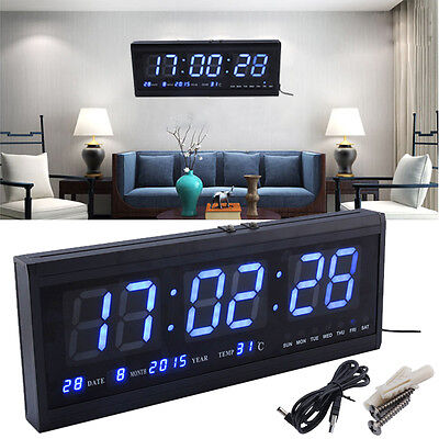 Large Jumbo Digital LED Wall Desk Alarm Clock Calendar Temperature Date Blue AU