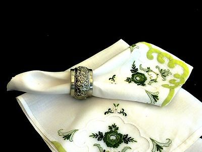 Exquisite Vintage Hand Crafted White Linen Organdy  Madeira  Napkins / Traycloth