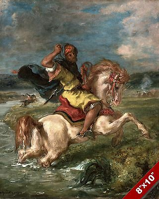 Moroccan Horseman Cavalry Crossing A Ford Painting History Art Real Canvas Print