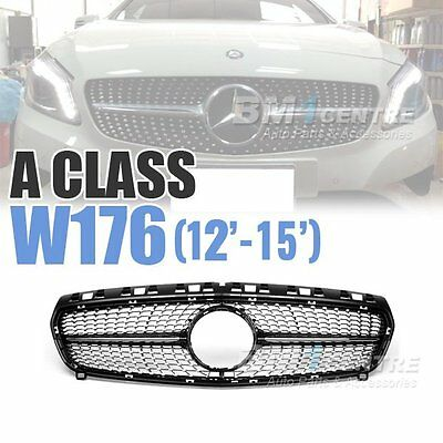 Front Mesh Grill For Mercedes Benz A Class W176 Distronic Diamond Black no star