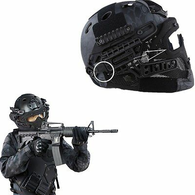 Tactical Airsoft Paintball CS Games Fast Helmet w/Googles Mask Side Rails