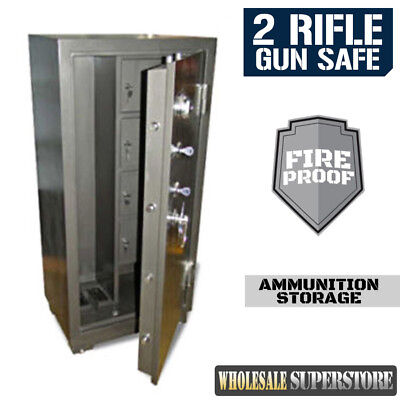 FIREPROOF 2 Gun Safe SUPER HEAVY DUTY 235Kg  1300mm Firearm Rifle Storage