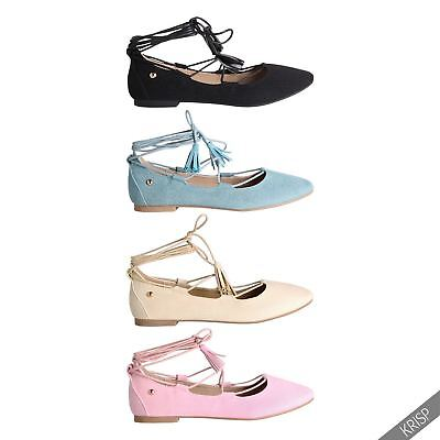 Womens Lace Up Pointed Ballerina Shoes Ankle Wrap Ballet Flats Pumps Sandals