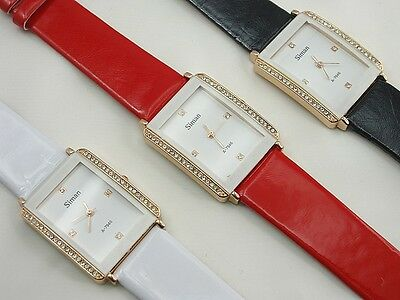 Wholesale three Black, White and Red Gold-tone White Crystal Watch Wristwatch
