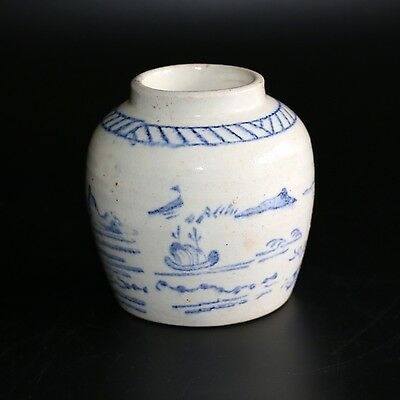 Antique Chinese Blue & White Provincial Stoneware Ming Pot Small Ginger Jar
