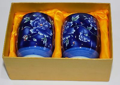 Chinese Porcelain Beakers Cups Blue Floral Peony Flowers - Boxed Pair