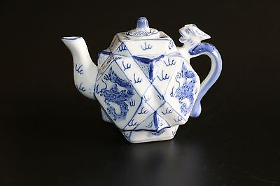 Vintage Small Chinese Hexagonal Blue & White Porcelain Teapot - Hand Painted