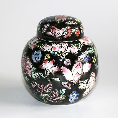 Chinese Small Lidded Ginger Jar Pot Hand Painted Floral Motif On Black
