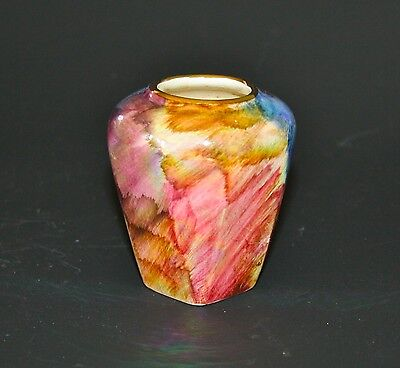 Vintage Oldcourt Ware Miniature Vase Lustre Hand Painted Colourful Design