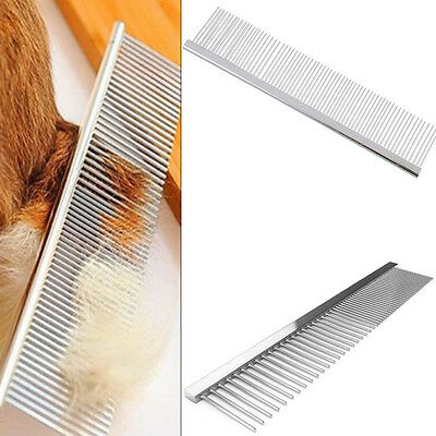 Pet Dog Cat Stainless Steel Comb Long Hair Grooming Beauty Flea Comb Clean Tool