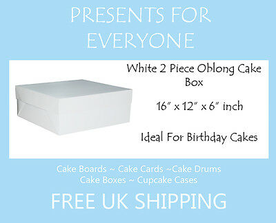 "16"" x 12"" x 6"" Inch Oblong 2 Piece Cake Box Variation"