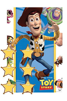 DISNEY TOY STORY 14 PIECE PIN THE SHERIFF BADGE ON WOODY Birthday Party Game 016