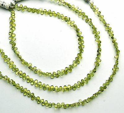 Natural Gem Olive Green Peridot Smooth Pear Shape Briolette Beads 3x4MM Approx9""