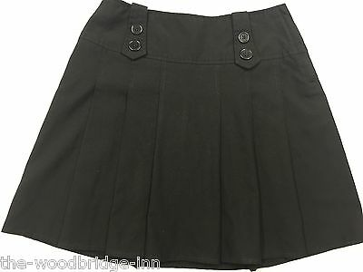 GEORGE AGE 10-11 YEARS (140-146cm) BLACK GIRLS ADJUSTABLE WAIST PLEATED SKIRT 6H