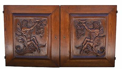 French Pair Hand Carved Art Deco Cabinet Door Panel Mythology Bacchus Wine Faun