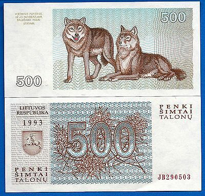 Lithuania P-46 500 Tolonas Year 1993 Uncirculated FREE SHIPPING