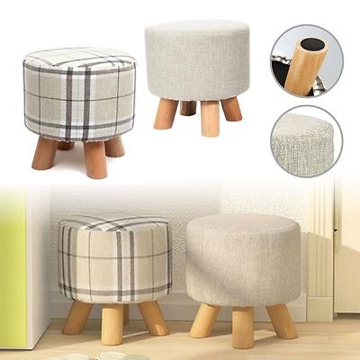 New Round Wooden Chair Stool Footstool Ottoman Pouffe 4Legs Rest Padded Seat