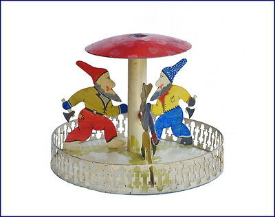 Vintage Metal Christmas Tree stand - 3 Dwarfs with Axe - ca. 1930 (# 6355)